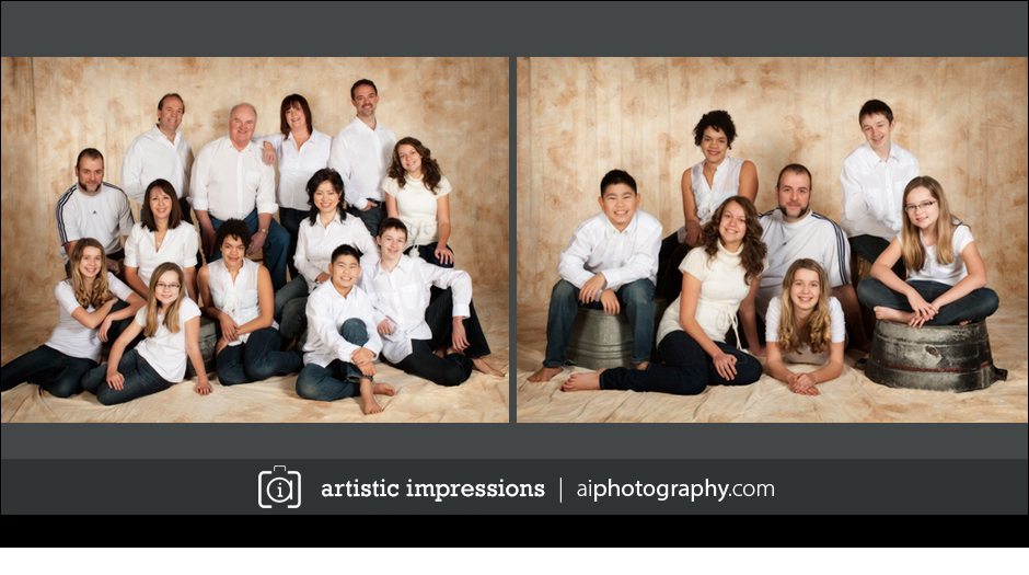 Winnipeg professional portrait photographer photography studio extended family pictures lanyon in studio